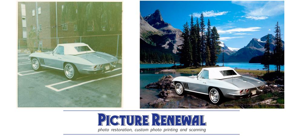 Picture Renewal Photo Restoration Picture of 1965 Corvette photoshopped into mountain scenic.