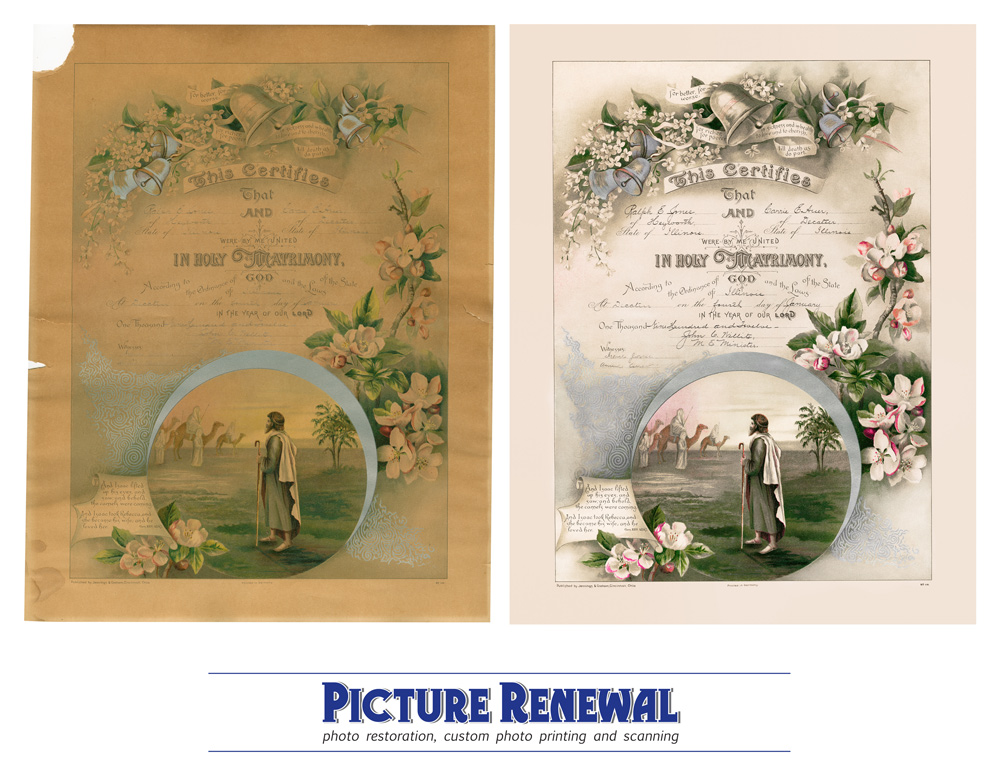 Picture Renewal Photo Restoration Christian marriage document 1912 Severe damage Before and after restoration