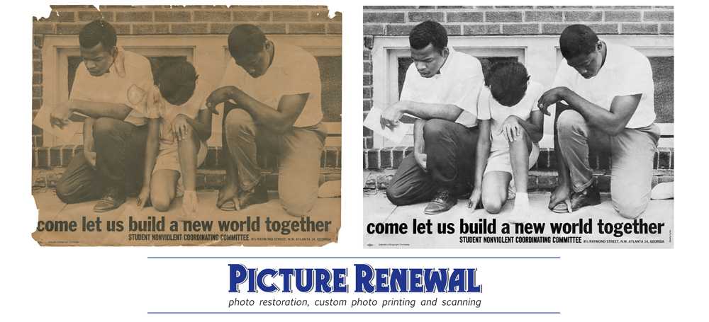 Picture Renewal Photo Restoration Poster Civil Rights c.1963 restored