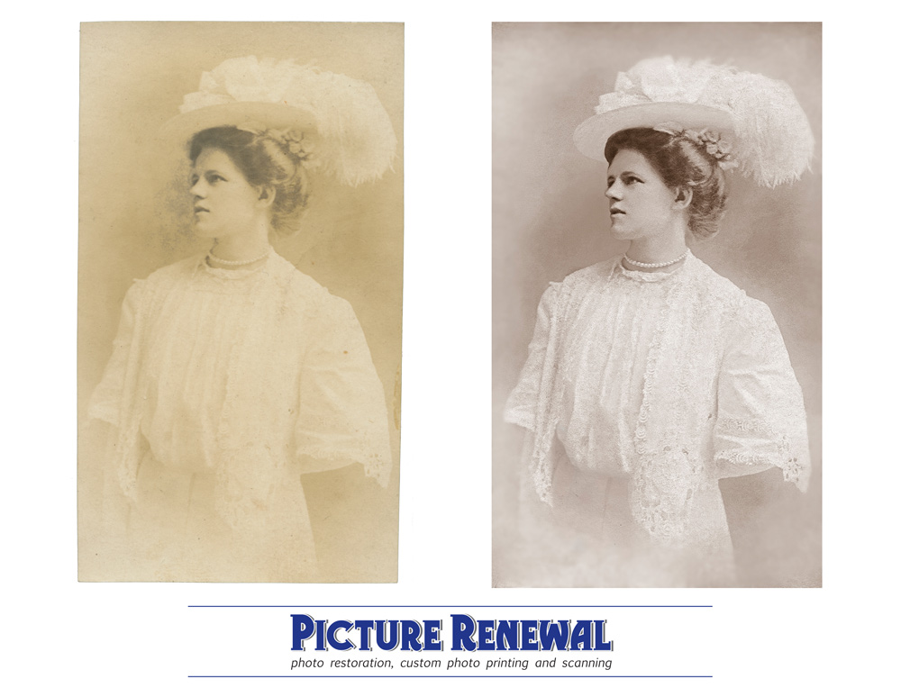 Picture Renewal Photo Restoration Victorian Hat Albumen Studio Print