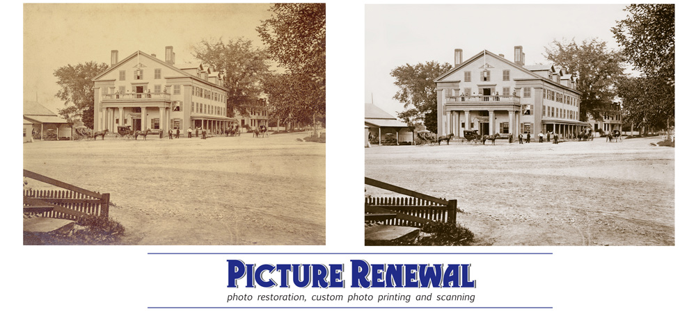 Photo restoration of albument print of the Middlesex Hotel, Comcard, Mass 1875.