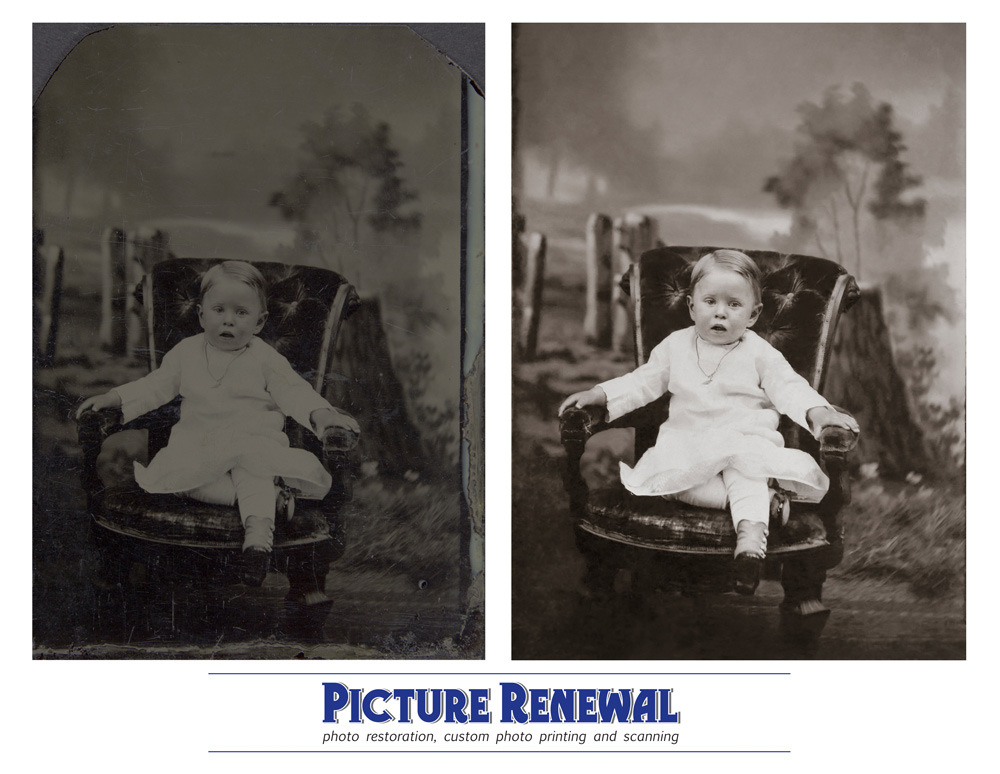 Picture Renewal Photo Restoration Tin Type 1870? Studio shot of baby in chair. Restored.
