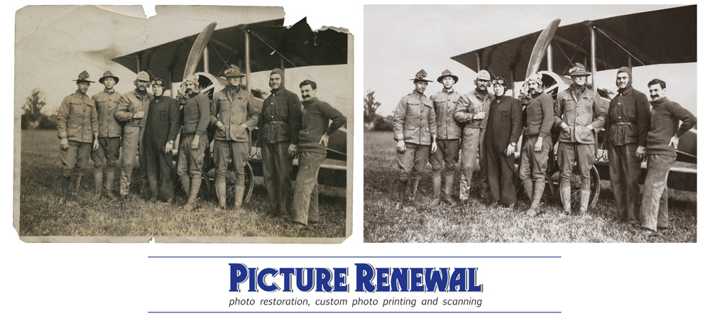 Picture Renewal Photo Restoration Biplane Crew c1935 Restoration