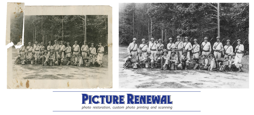 Picture Renewal Photo Restoration  black and white ww2 combat company