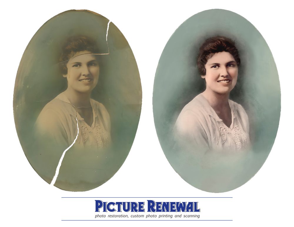 Picture Renewal Photo Restoration Hand tinted studio prtrait of woman with cracks and fading restoration