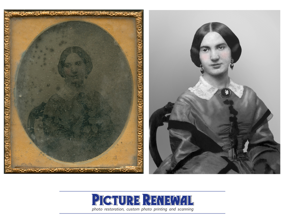 Picture Renewal Photo Restoration Ambrotype Quater Plate portrait of woman 1890 Restored.
