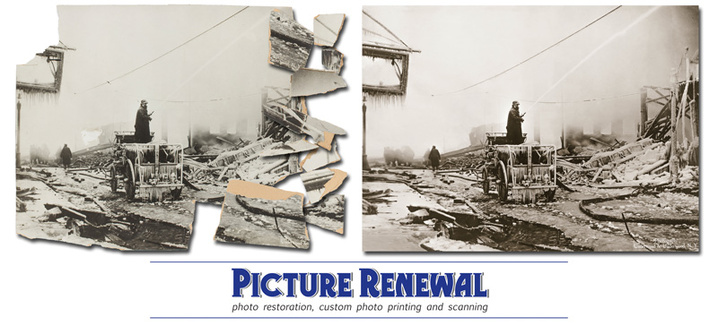 Photo restoration of The Great Boston Molasses Flood 11X15 toned print in pieces.