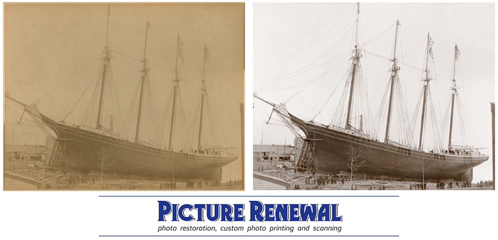 The Schooner Marjorie photo restoration with before and after