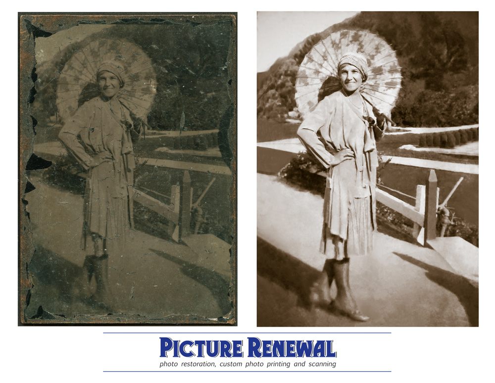 Picture Renewal Photo Restoration Tin Type Outdoors woman with umbrella restored