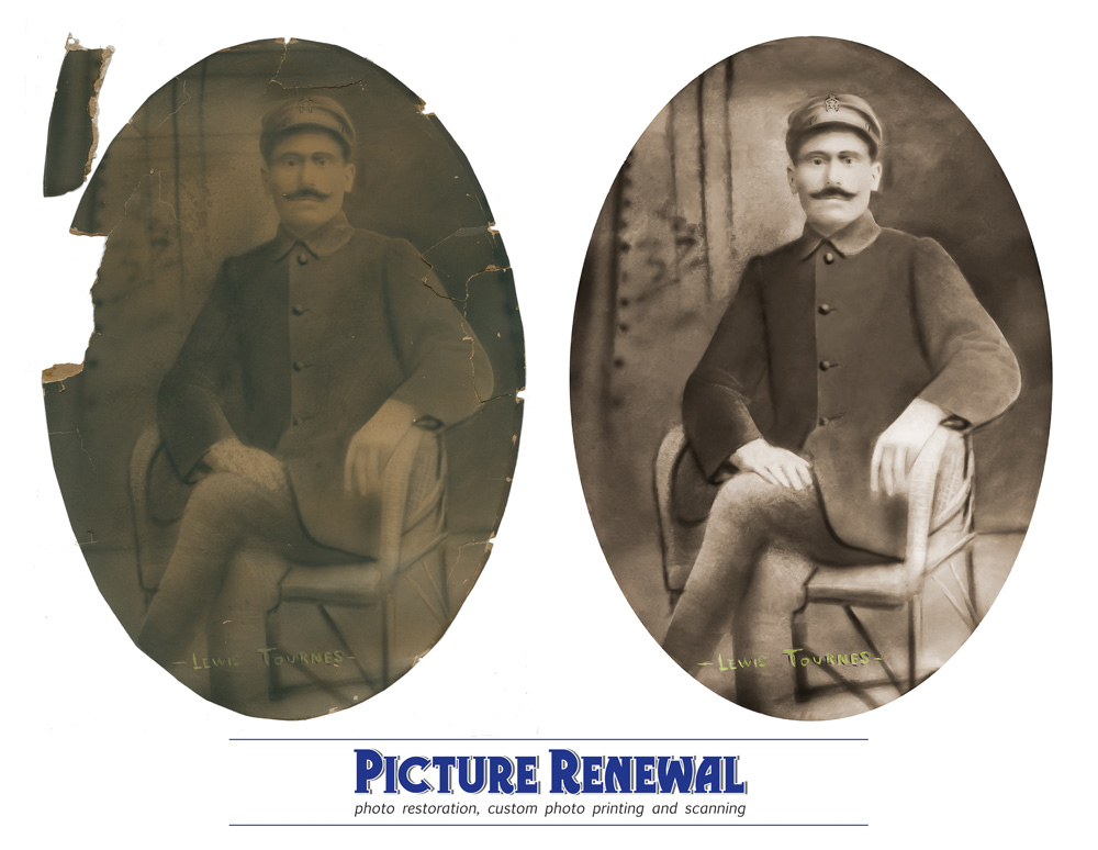 Picture Renewal Photo Restoration Crayon photo greek sailor 1900