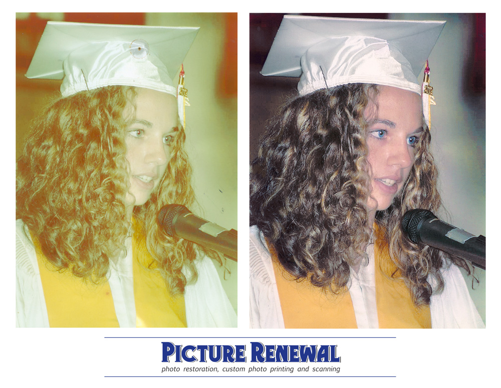 Picture Renewal Photo Restoration  Faded color print 2005 high school veledictorian