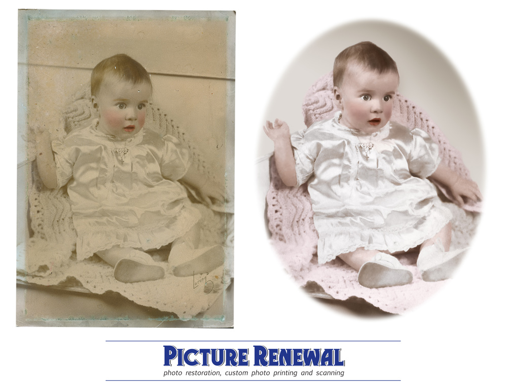 Picture Renewal Photo Restoration Studio baby portrait hand colored, restored and photoshopped.