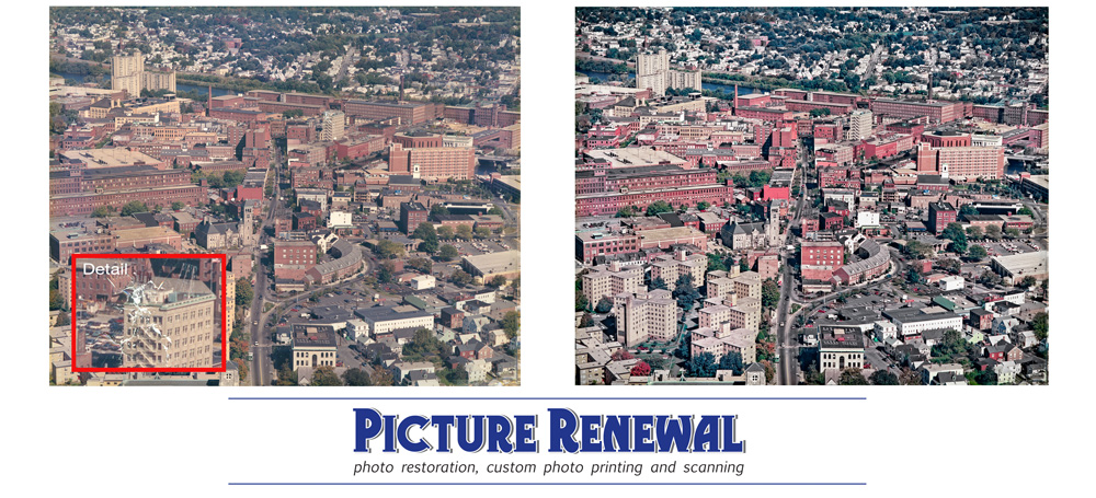 Picture Renewal Photo Restoration Aerial view Lowell Mass c 1975 restored