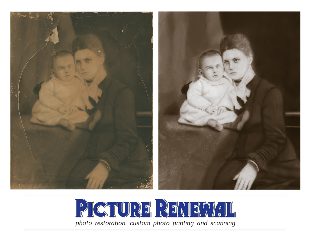 Picture Renewal Photo Restoration Mother and child studio crayon prtrait. Extreme damaged repaired.