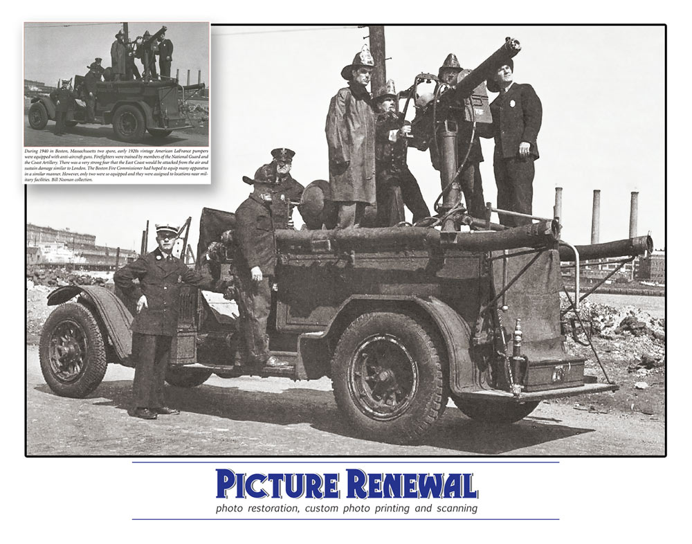 Picture Renewal Restoration of 1940 antiaircraft gun on Boston Fire Department Truck