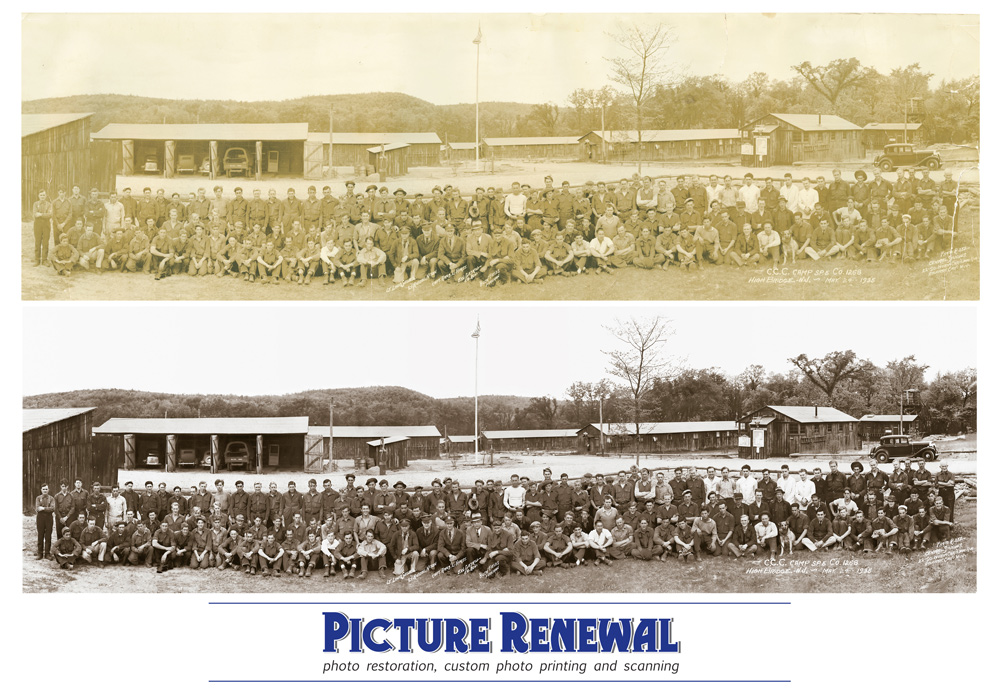 Picture Renewal Photo Restoration Civilian Conservation Corps New Jersey 1935 Restored group panorama