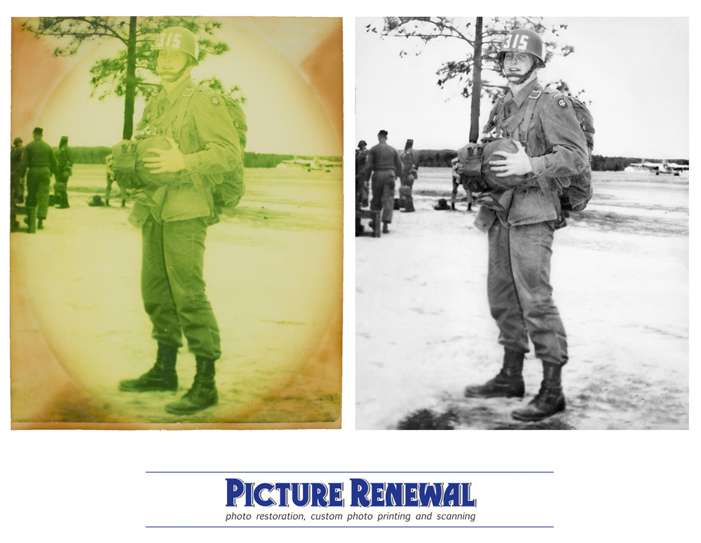 Picture Renewal Photo Restoration Faded and stained black and white print Paratrooper