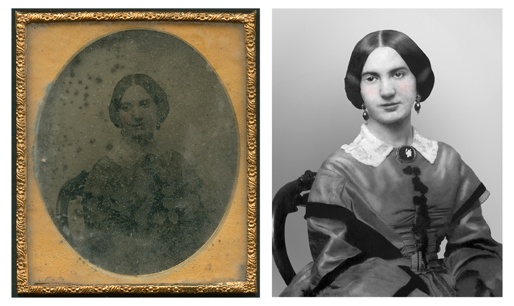 Ambrotype before and after restoration